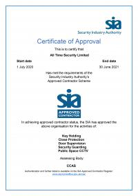 ACS Approval Certificate - SIA Approved contractor