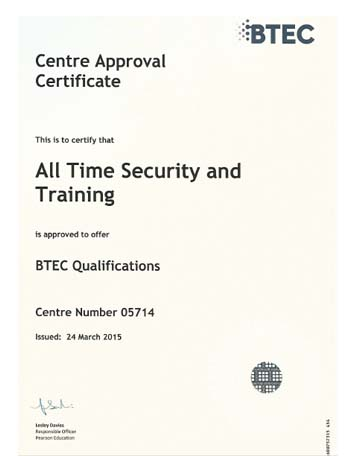 Centre Approval Certificate