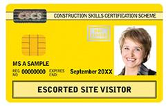 Yellow: Escorted Site Visitor Card